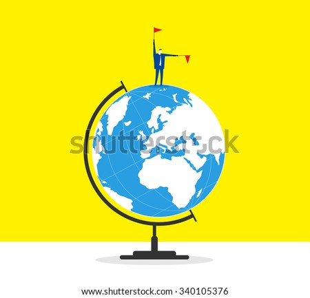 The leader- A businessman stands on a globe and guide forward. - stock vector