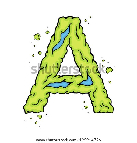 The letter A. Bright green element stylish alphabet style zombies. Halloween ABC grimy element in the vector. Hand drawn letter A isolated on white background. - stock vector