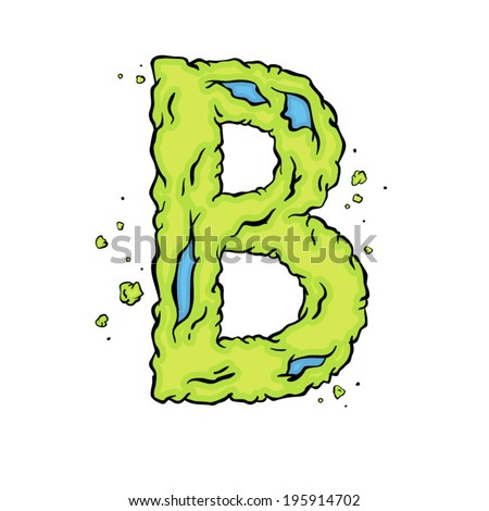 The letter B. Bright green element stylish alphabet style zombies. Halloween ABC grimy element in the vector. Hand drawn letter B isolated on white background. - stock vector