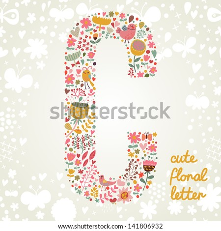 The letter C. Bright floral element of colorful alphabet made ??from birds, flowers, petals, hearts and twigs. Summer floral ABC element in vector - stock vector