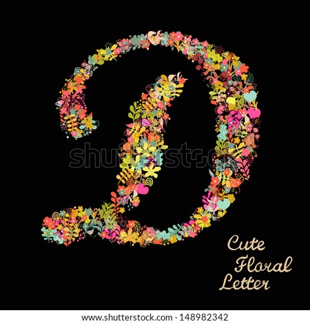 The letter D. Bright floral element of colorful alphabet made from flowers, petals, hearts and twigs. Summer floral ABC element in vector - stock vector