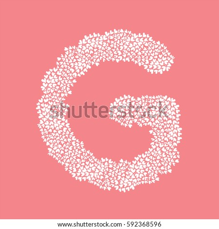 The letter G, in the alphabet Heart flower bush illustration set flat design white color isolated on pink background, vector eps10