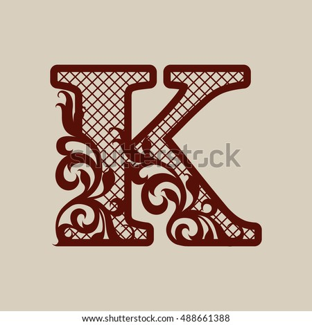 Stock Vector The Letter Elegant Monogram Carved Openwork Flower Pattern Template Can Be Used For Laser Alphabet Vectors Clipart
