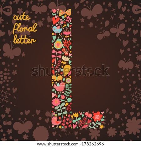 The letter L. Bright floral element of colorful alphabet made from birds, flowers, petals, hearts and twigs. Summer floral ABC element in vector - stock vector