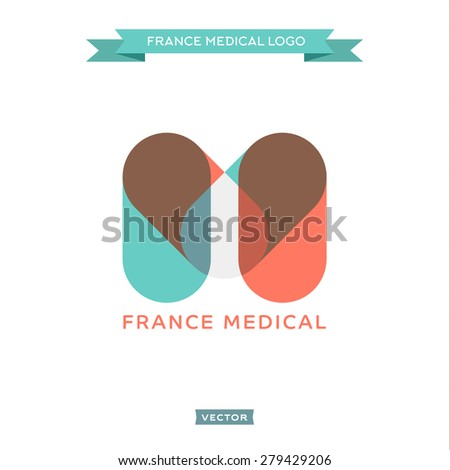 The letter M in the form of pills, medical and built the French flag, vector trend styles - stock vector