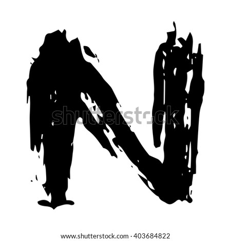 The letter N. Grunge ink alphabet, isolated on white background. Hand drawn with ink. Vector illustration.