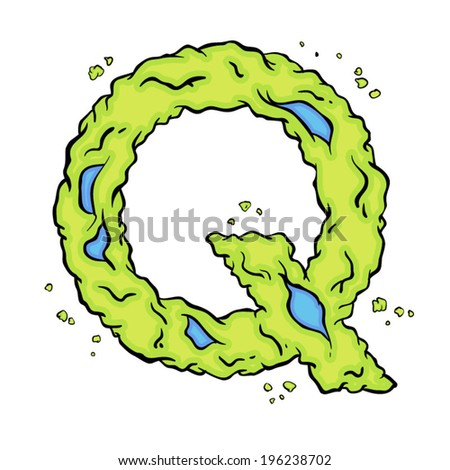 The letter Q. Bright green element stylish alphabet style zombies. Halloween ABC grimy element in the vector. Hand drawn letter Q isolated on white background. - stock vector