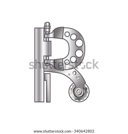 """The letter """"R"""" with gears, spare parts, bolts, screws, clockwork, micrometer. Mechanical design. Metal iron and gradient. - stock vector"""