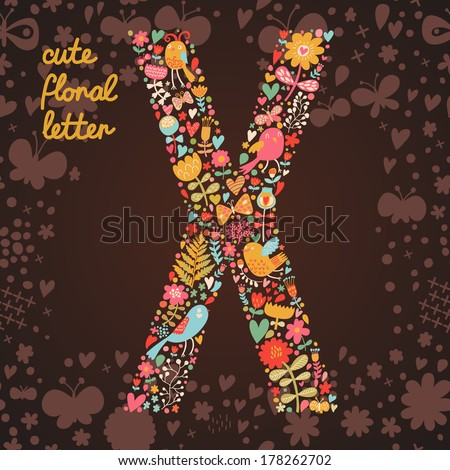 The letter X. Bright floral element of colorful alphabet made from birds, flowers, petals, hearts and twigs. Summer floral ABC element in vector - stock vector
