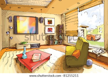 The light and empty interior of a cozy living room in a bright sunny day. The original vector image is layered. Editable vector EPS v9.0 - stock vector