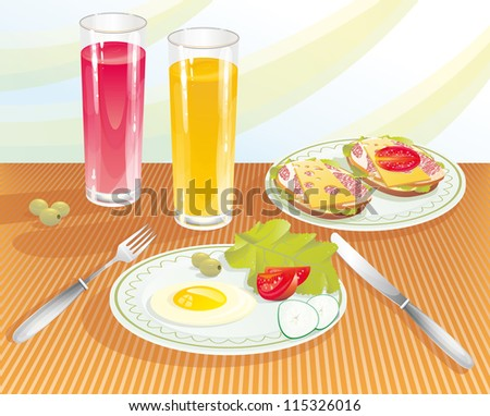 The light breakfast with orange and pomegranate juice. - stock vector