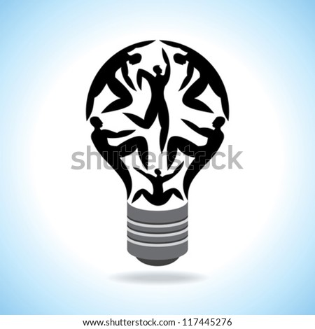 The Light Bulb For Job and Business Concept in Blue Sky Background - stock vector