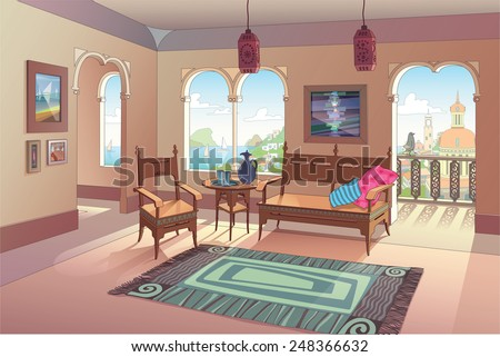 The light living room decorated in oriental style with a beautiful sea view and the beautiful eastern city perspective. The vector EPS v.10 is layered for your convenience. Enjoy! - stock vector