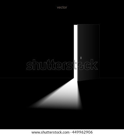 The light passing through the open door. Vector illustration