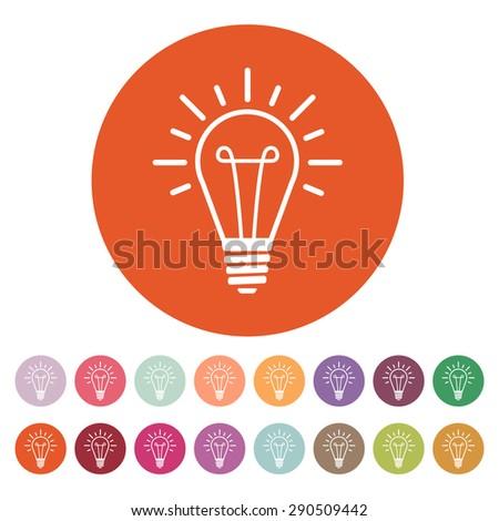 The lightbulb icon. Illumination symbol. Flat Vector illustration. Button Set - stock vector