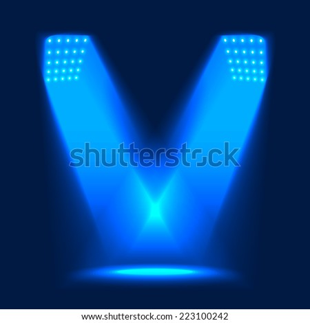 The Lights from the Spotlights Illuminating the Stage. Vector Background Illustration. - stock vector