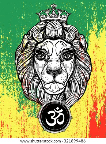 The lion of Judah head (reggae background) with ''Ohm'' -  oriental symbol of unity. Lion in vintage linear style, Rastafarian colors of Jamaica . Elegant tattoo artwork. Isolated vector illustration. - stock vector