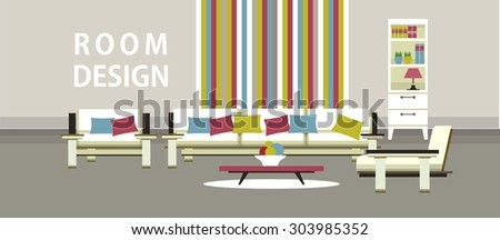 The living room, bedroom ineterer komntaty with furniture into a flat style - stock vector