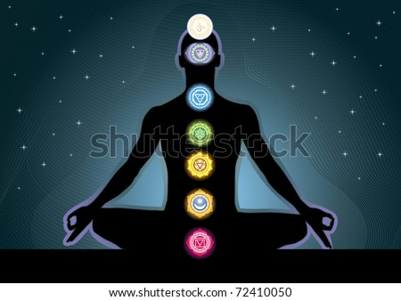 The location of the chakras on the human body, vector image - stock vector
