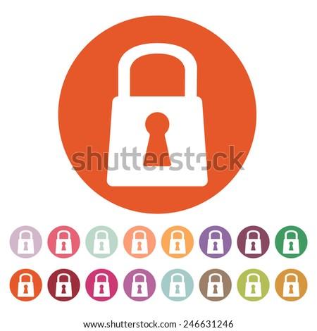 The lock icon. Lock symbol. Flat Vector illustration. Button Set - stock vector