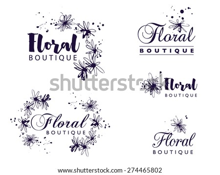 The logo design with hand drawn ink flowers and splashes. Black and white artistic decorative element. Idea. Floral boutique. - stock vector