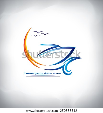 The logo of ship in the sea waves - stock vector