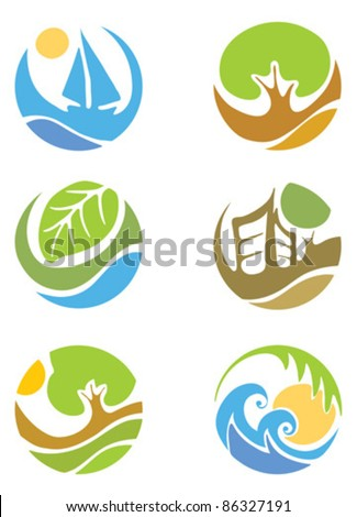 The logo on the theme of the summer and Tourism - stock vector