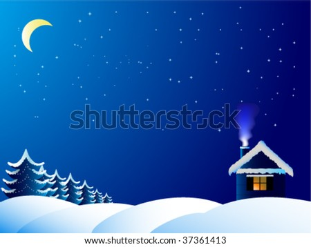 The lonely house in frosty night - stock vector