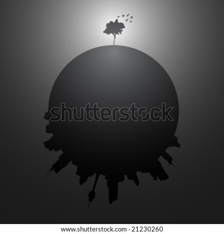 The lonely tree - vector illustration - stock vector