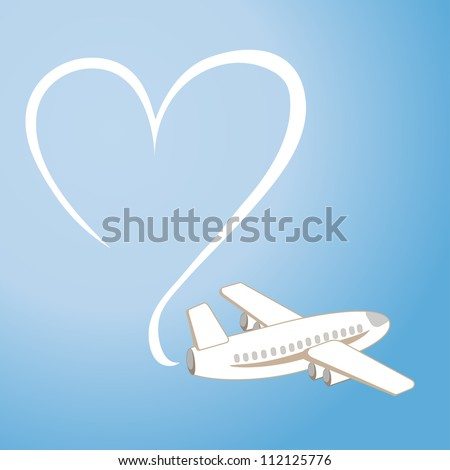 the love message in the sky by means of the plane (vector) - stock vector