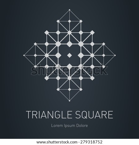 The low poly mesh. Modern stylish logo. Design element with squares, triangles and rhombus. Vector logotype template. Grid structure. - stock vector
