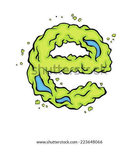 The lowercase  letter E. Bright green element stylish alphabet style zombies. Halloween ABC grimy element in the vector. Hand drawn letter E isolated on white background.  - stock vector
