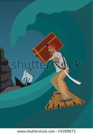 The lucky pirate has rescued from crashed ship - stock vector
