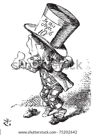 The Mad Hatter arrives hastily in court to testify - Alice in Wonderland engraving. The first witness was the Hatter. He came in with a teacup in one hand and a piece of bread-and-butter in the other - stock vector
