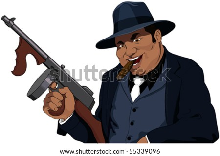The Mafiosi with the automatic weapon - stock vector