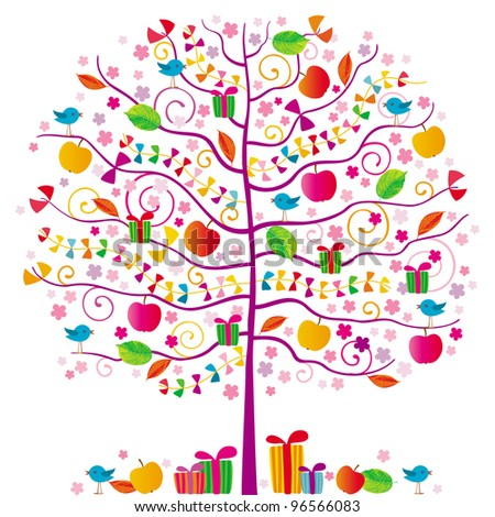 The magic tree with birds, red apples, ribbons and gifts - stock vector