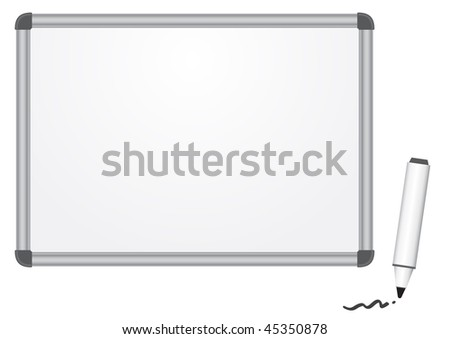 The magnetic white marker board isolated on the white background - stock vector