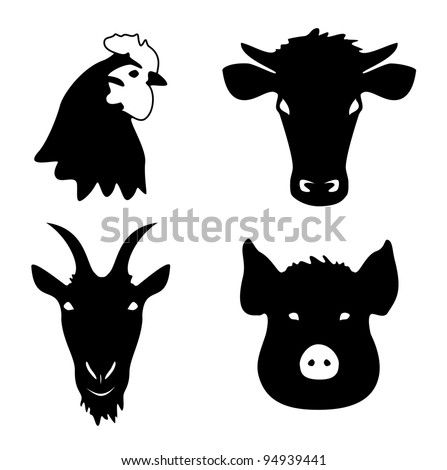 The main meat animals - stock vector