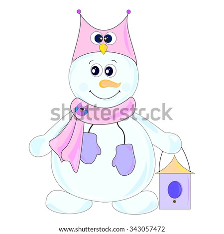 The main symbol of this vector illustration is snowman. It's dressed in hat with image of owl, scarf with owl-brooch. Image belongs to theme of winter holidays. - stock vector