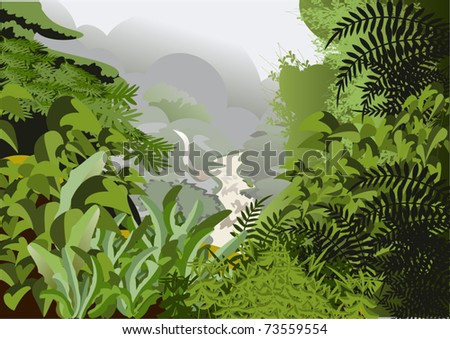 The majestic view from the mountains to the jungle in the mist - stock vector