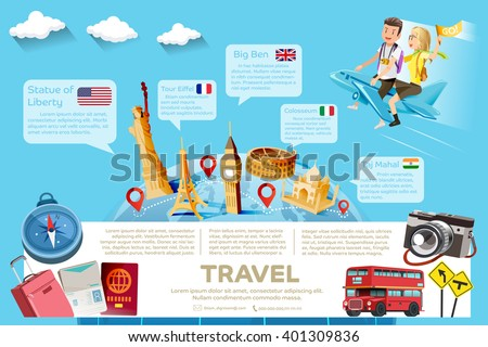 The major tourist attractions in the famous country.Template guide of International  travel.  - stock vector