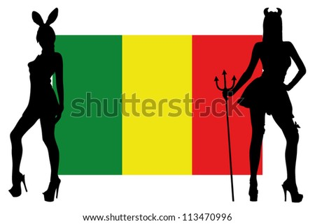 The Mali flag with silhouettes of women in sexy costumes
