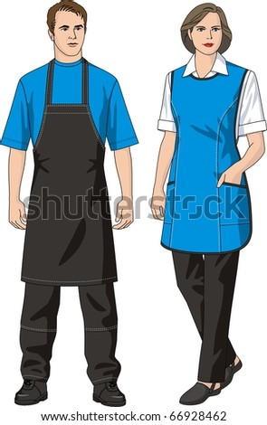 The man and the woman in an apron and trousers - stock vector