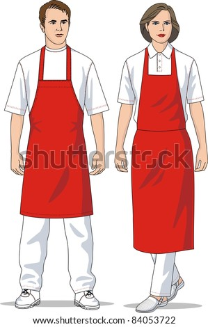 The man and the woman in red aprons - stock vector