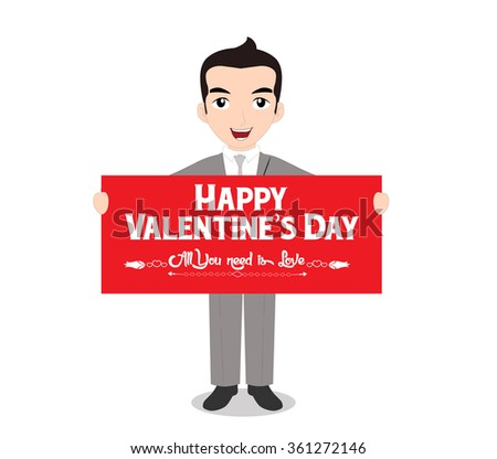 The man holding happy valentines day note - stock vector