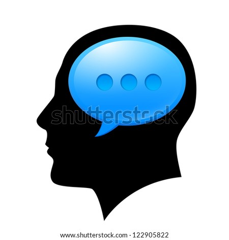 The man in the head with sms. Illustration for design on white background.