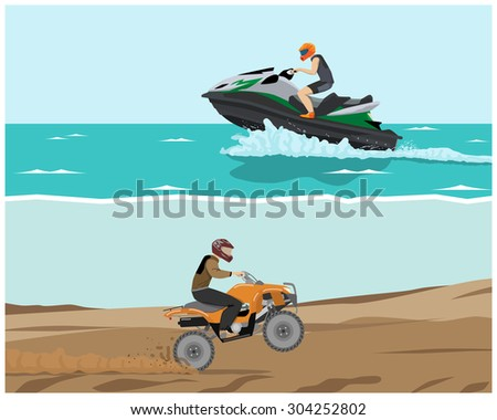 The man is engaged in extreme sports. Quad bike and watercraft. Vector illustration - stock vector