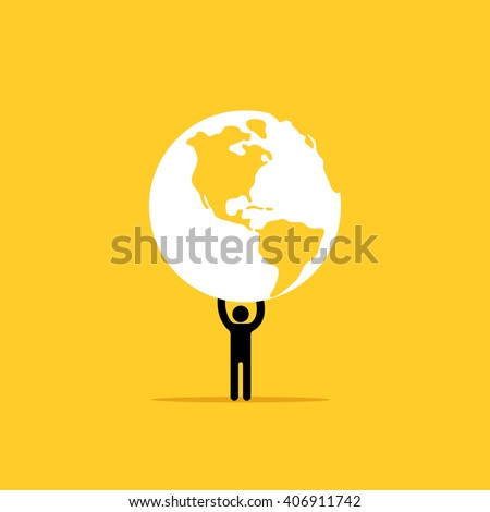 The man is holding a planet earth in his hands - stock vector