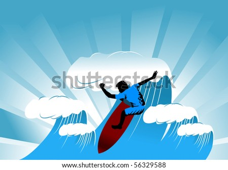 The man on the board overcomes the high tide; - stock vector