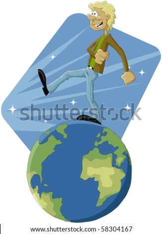 The man walks on globe